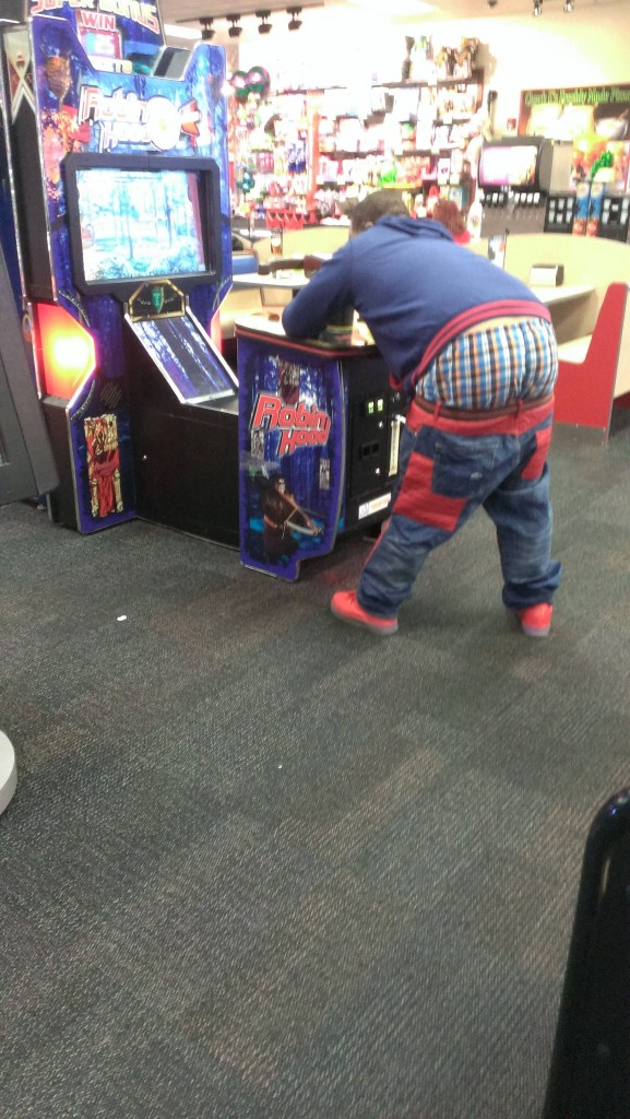 kid with pants falling down