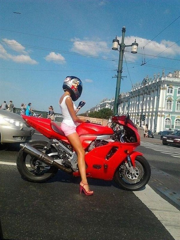 high heels and motorcycle
