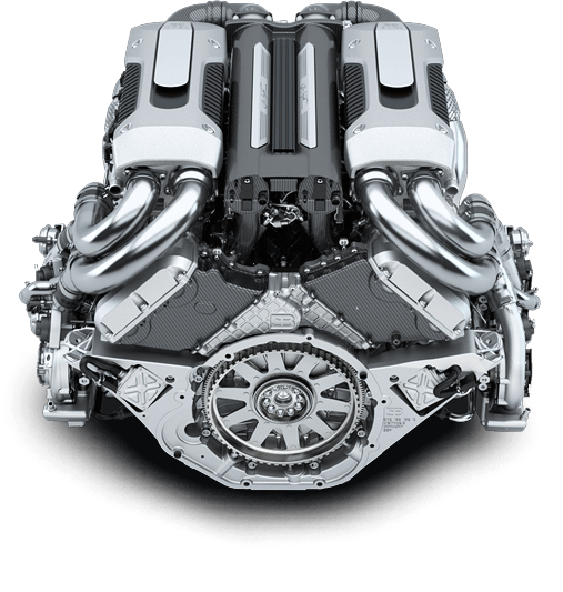The engine from the new 1,500 horsepower Bugatti Chiron
