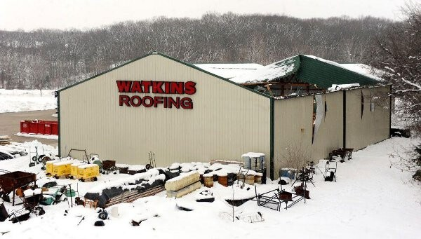watkins roofing with the roof caved in