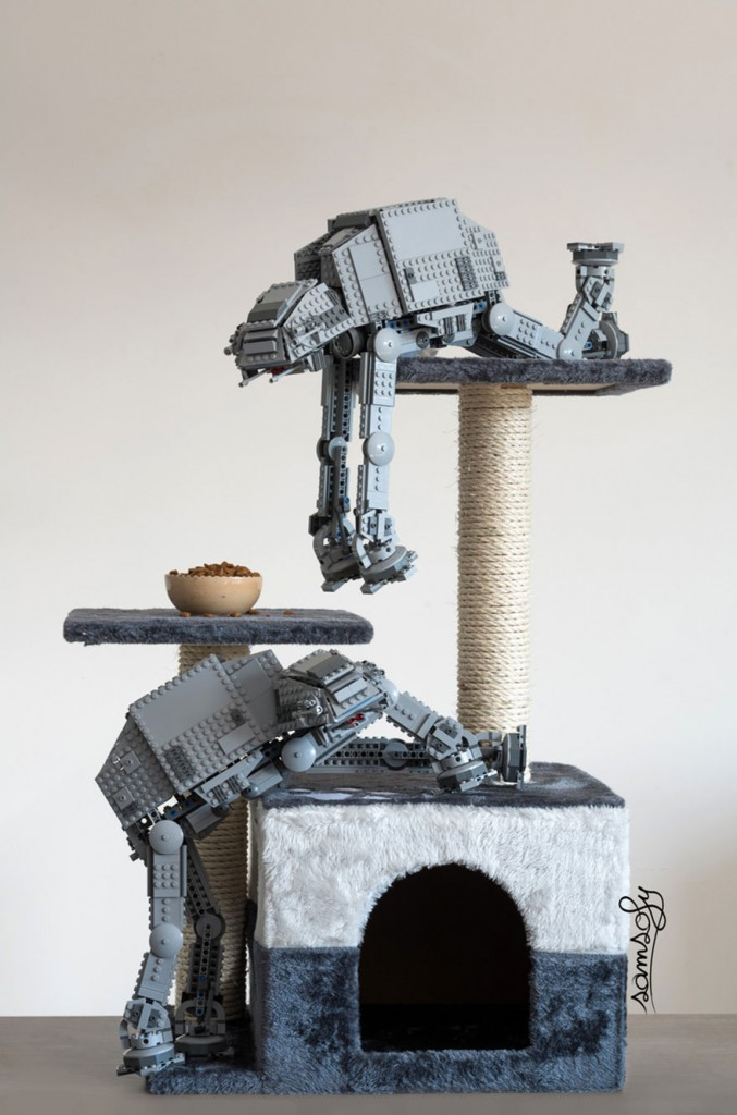 AT-ST lego climbing a cat tree