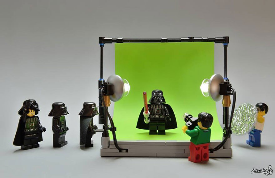 lego darth vader on a green screen