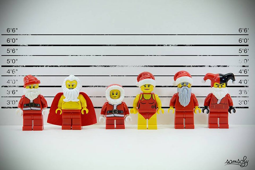 lego figures in a line up dressed in santa costume