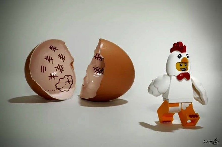 lego chicken hatching out of an egg