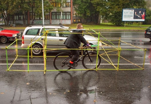 car frame around bicycle