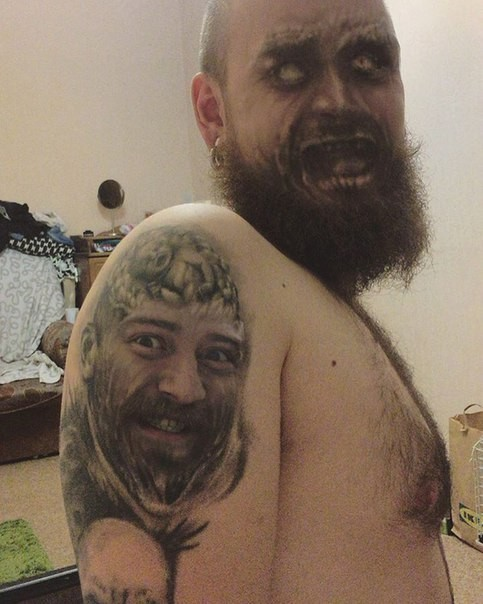 scary face swap tattoo