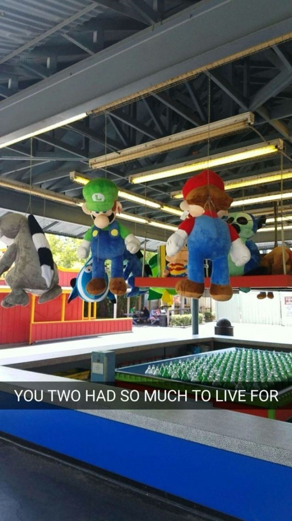 Mario and Luigi hanging from ceiling