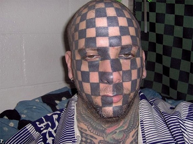 guy with checkerboard face