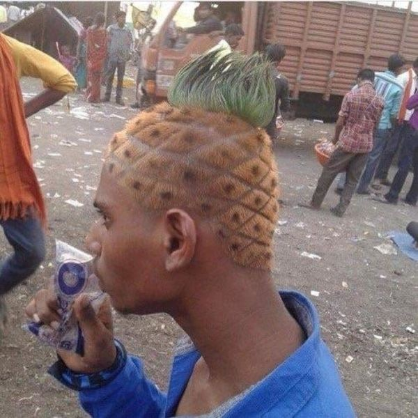 man with pineapple hair
