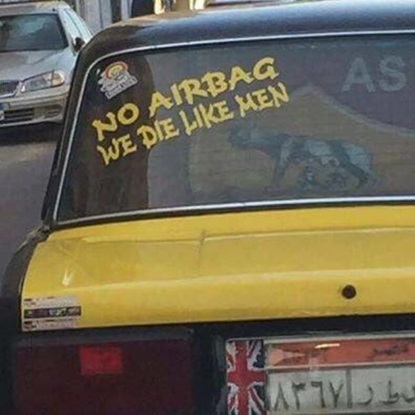 no airbag we die like men sticker